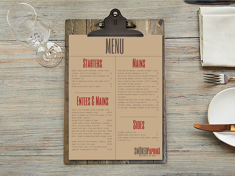 Smoked Paprika kitchen & bar logotype & menu