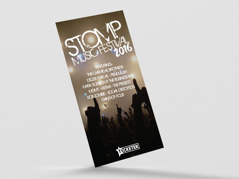 stomp music festival logotype and flyer